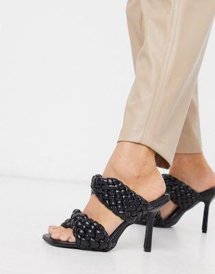 Sandales à talon tressé noir ASOS