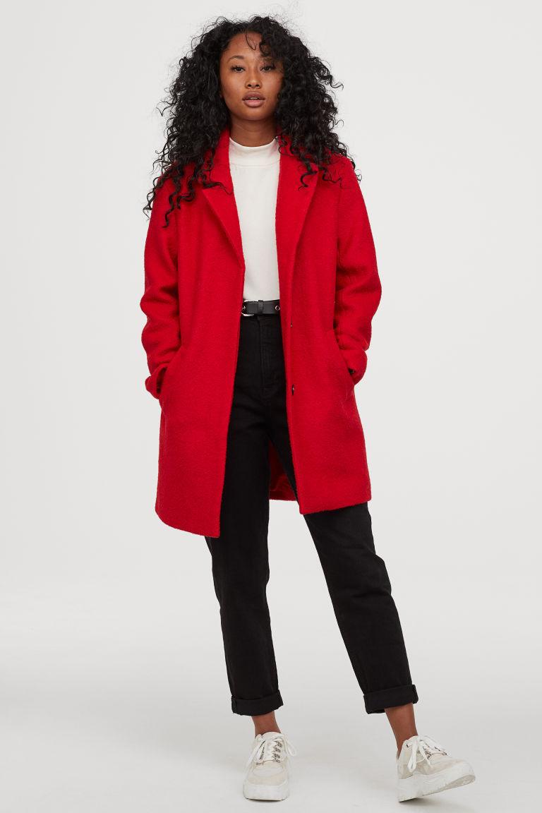 manteau en laine mélangée rouge