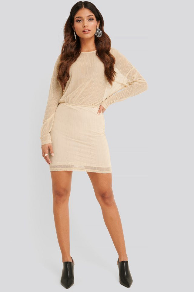 Glitter detail mini dress beige NA-KD
