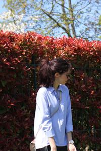 Robe chemise avec empiècement en simili