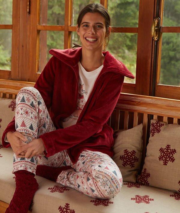pyjama 3 pièces rouge etam
