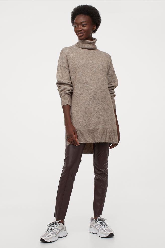 Legging en simili cuir marron H&M