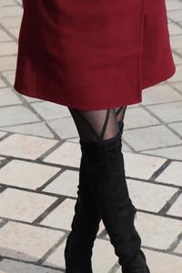 Collant faux bas avec attache et noeud