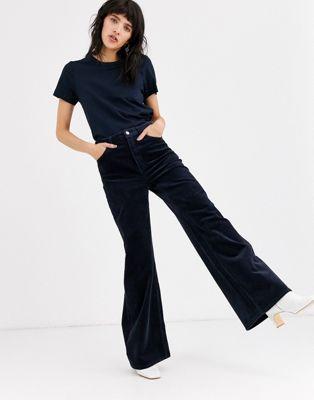 pantalon en velours côtelé bleu