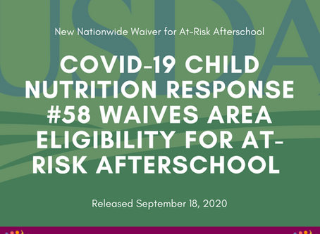 USDA Releases CACFP At-Risk Afterschool Eligibility Waiver through December 31, 2020