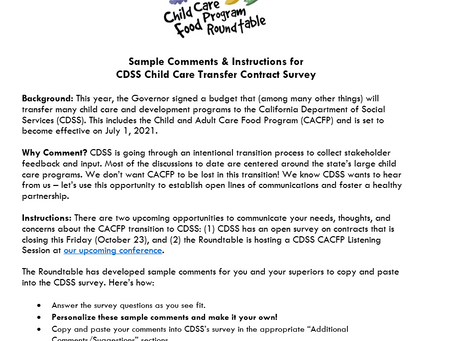 CACFP is moving from CDE to CDSS: Let's make sure we don't get lost in transition