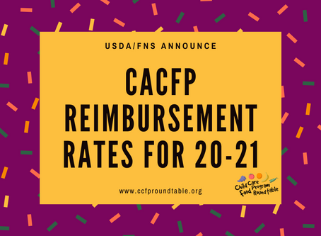 Child and Adult Care Food Program Reimbursement 20-21 Rates Released