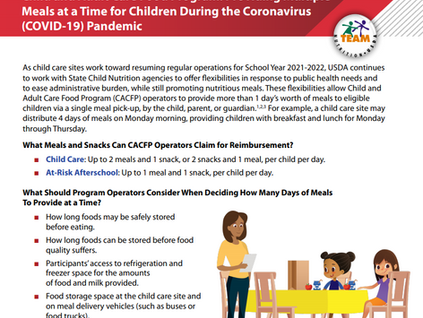 USDA Team Nutrition Updates Providing Multiple Meals at a Time for Children During COVID-19