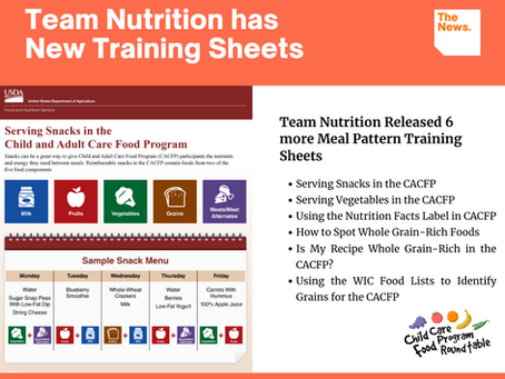 New Team Nutrition Meal Pattern Training Worksheets and Feeding Infants Training Kit