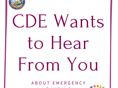 CDE wants your questions about the CACFP Emergency Relief Funds