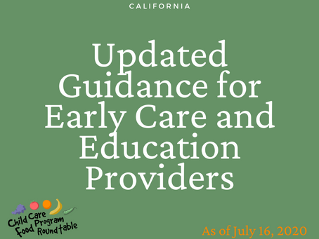 California Releases Updated COVID-19 Guidance for Early Care and Education