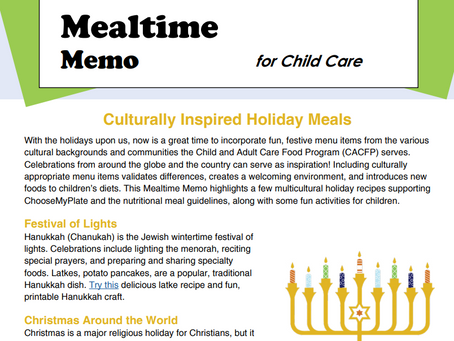 Mealtime Memos - CACFP Resources - Did you know ICN is still creating brand new ones?!