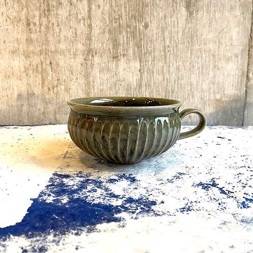 鎬スープカップ 緑釉