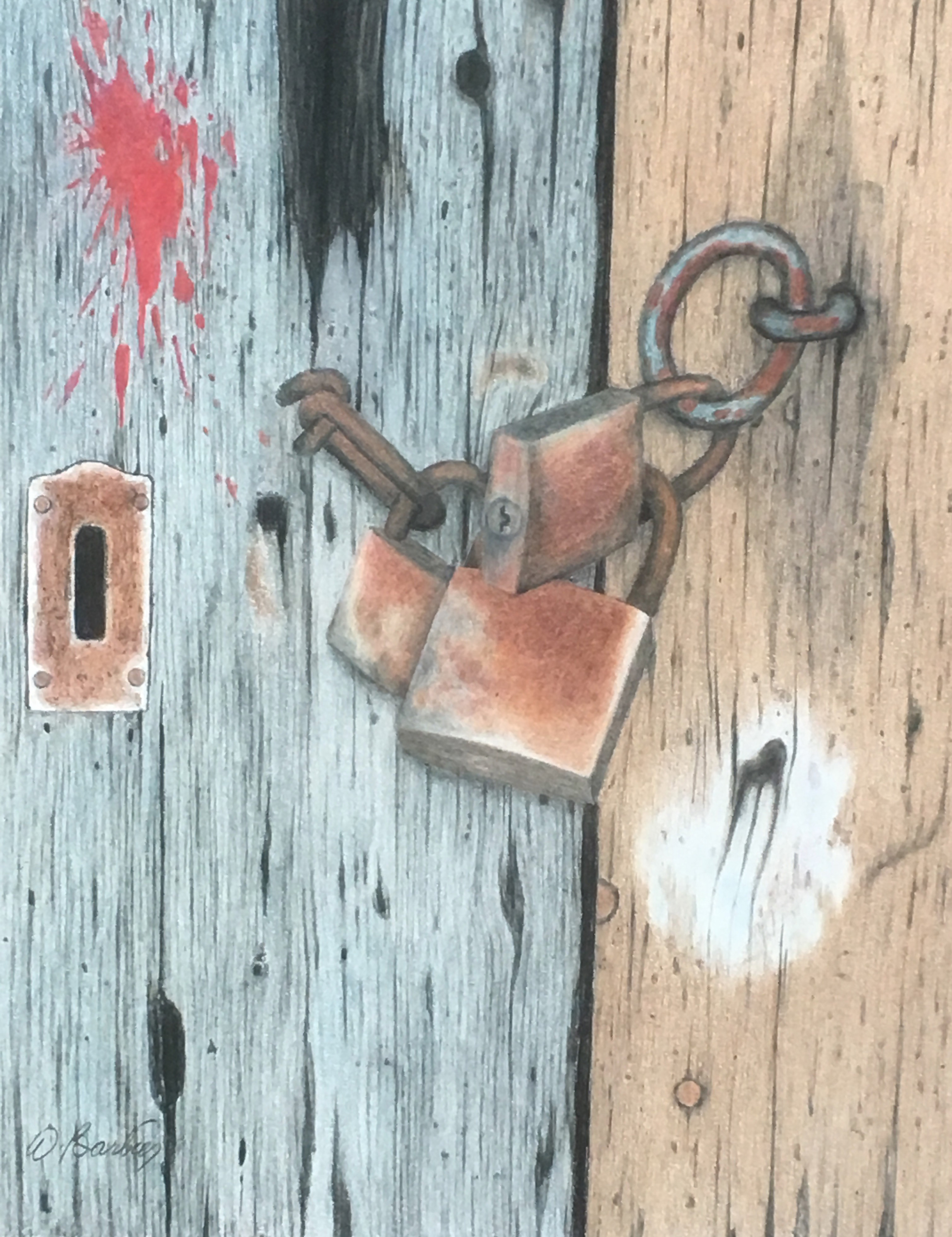 Three rusty padlock