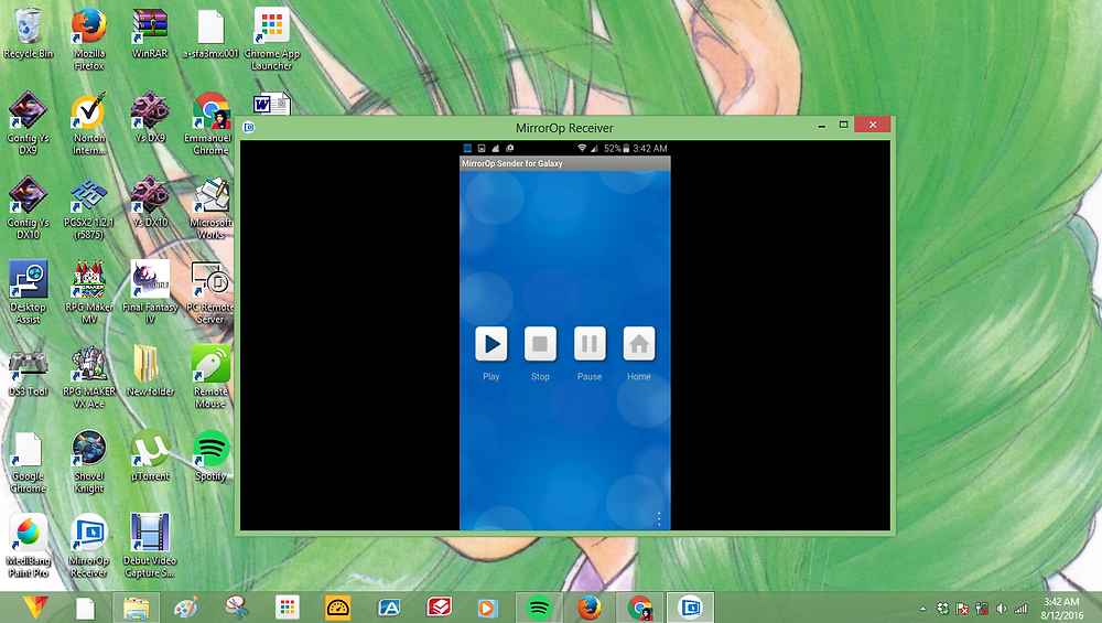 Windows Sender View screen (casting android device live)