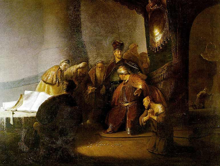 Judas Returning the Thirty Pieces of Silver by Rembrandt that will be on display