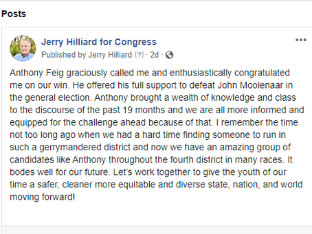 Jerry Hilliard Wins Primary 2020, Anthony Feig Congratulates Him