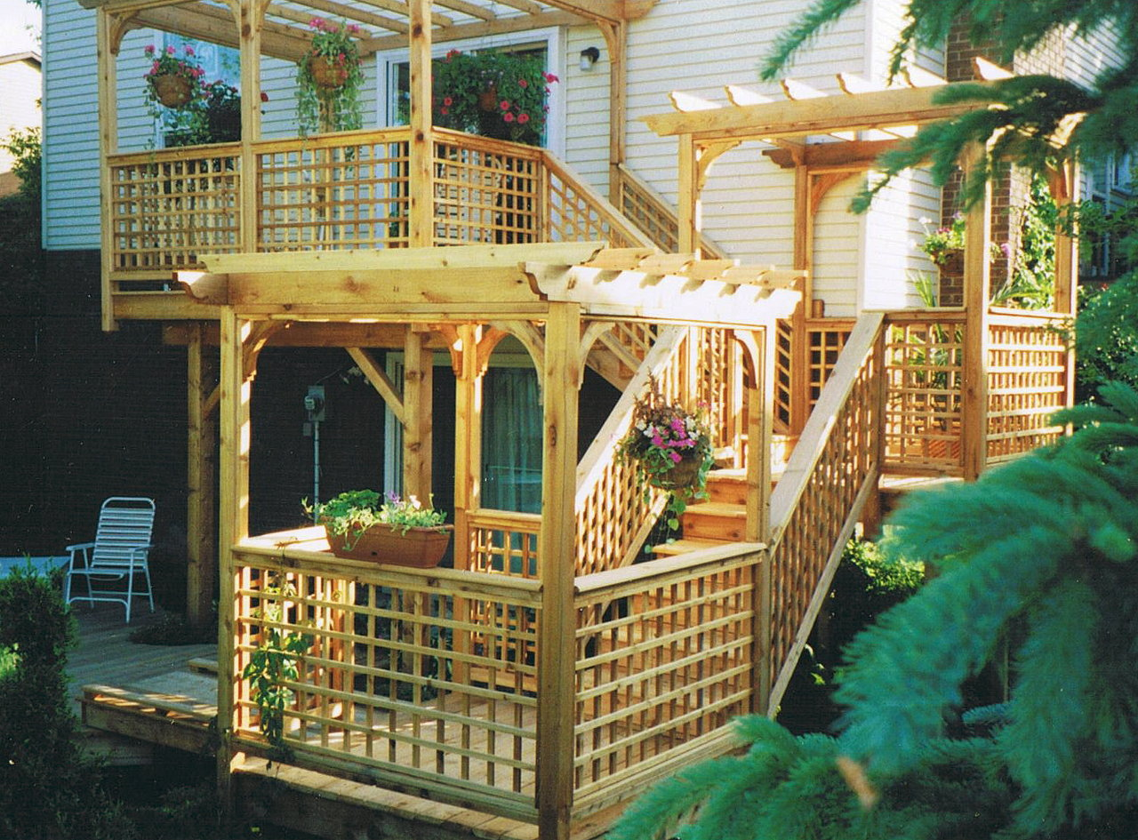 Multi-Level Deck Pond & Bridge