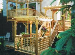 Multi-Level Deck Pond & Bridge