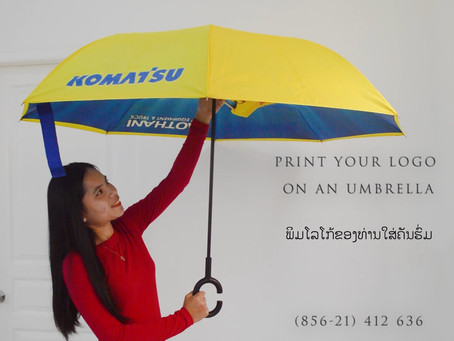 Print your logo on umbrellas and raincoats