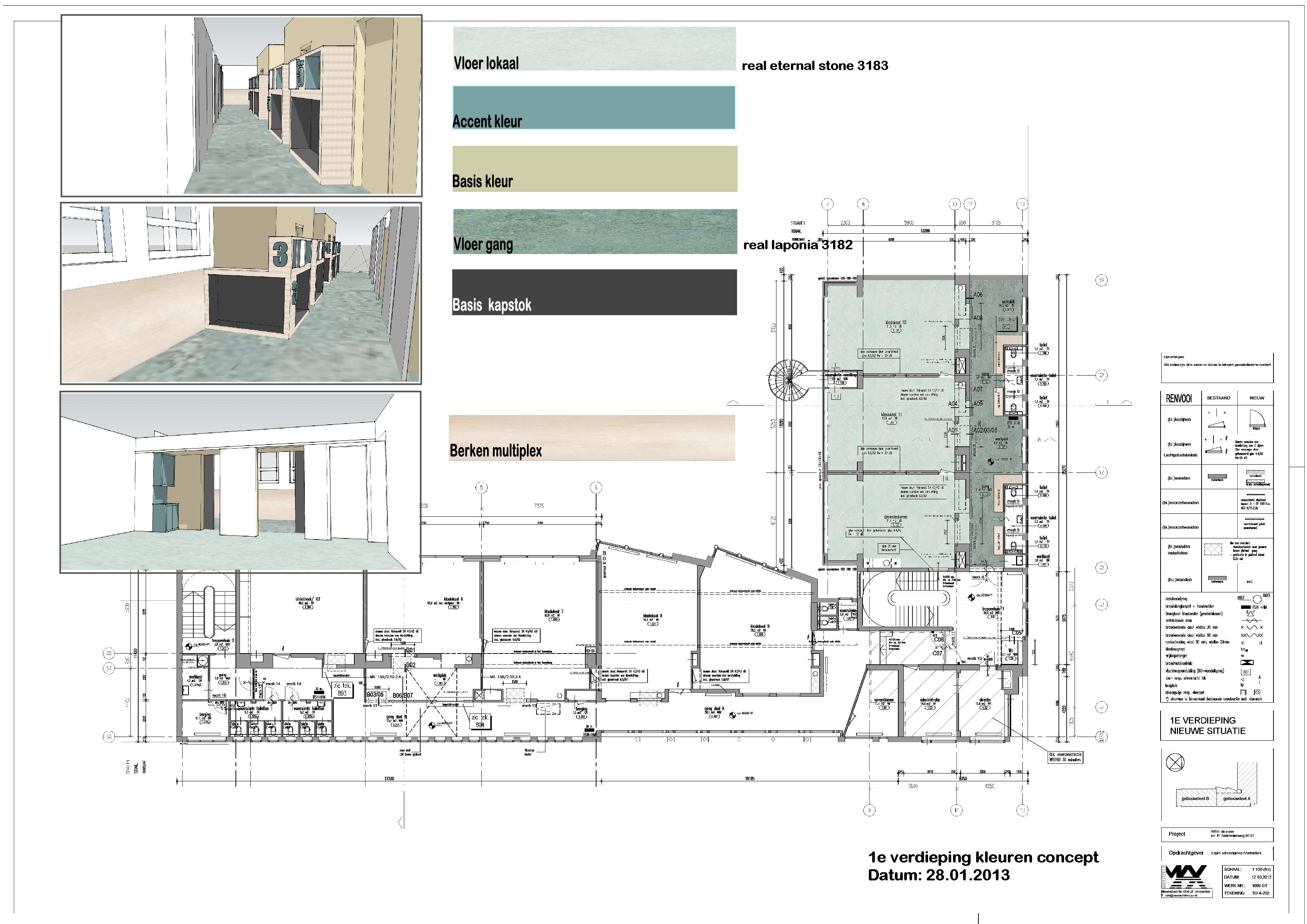kleurenvoorstel 1e verdieping
