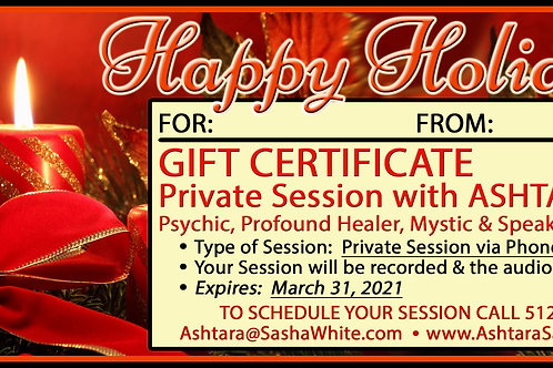 HAPPY HOLIDAYS Gift Certificate - 1hr Phone Session