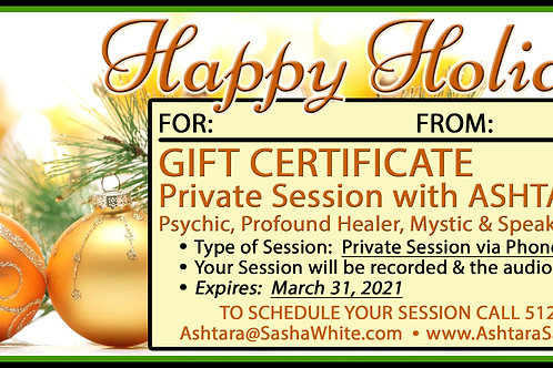 HAPPY HOLIDAYS (v2) Gift Certificate - 1hr Phone Session