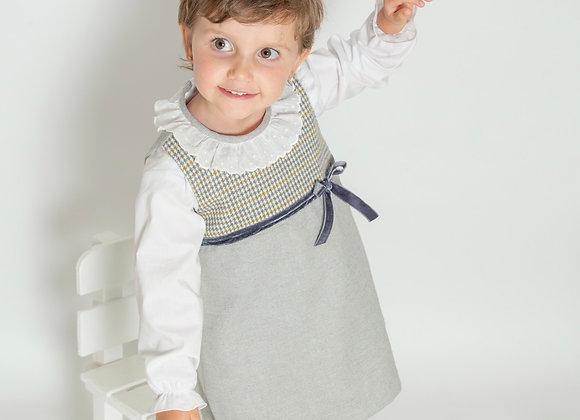 Vestido gris chamonix con talle de cuadros y blusa manga larga