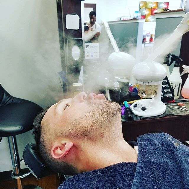Not all smoke is bad for you. _Nate  having some fun with his steam treatment