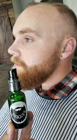 SWAGGER Beard Oil.  _Makes I manageable,  soft, and grow._Order today_ promasterbarber_gmail