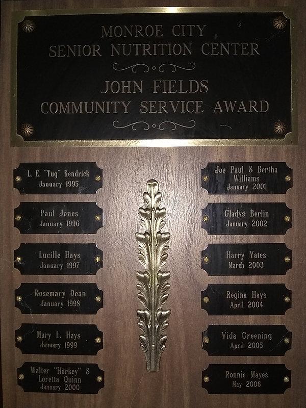 John Fields Award - Monroe City Senior Nutrition Center