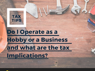 Do I operate as a Hobby or a Business and what are the Tax implications?