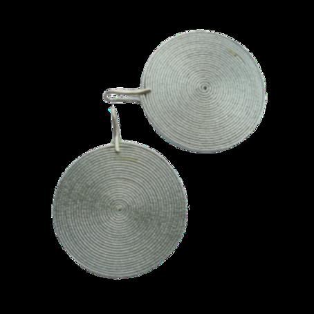 Silver Disco Lollipops Leather Earrings