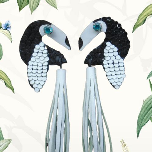 Blue Eyed Toucan - Leather Earrings