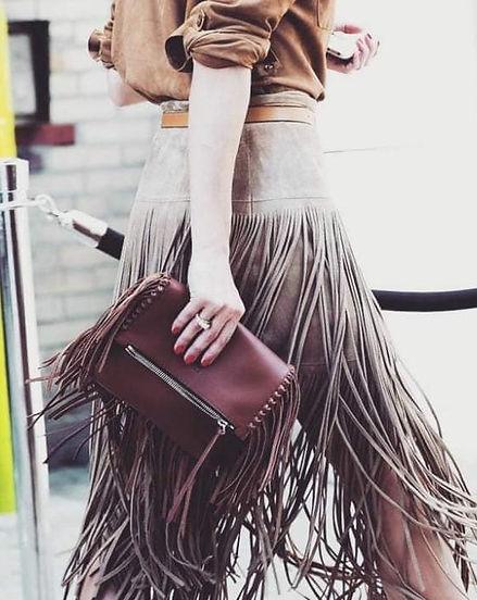 leather fringe skirt