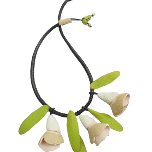 Pink Roses Leather Necklace