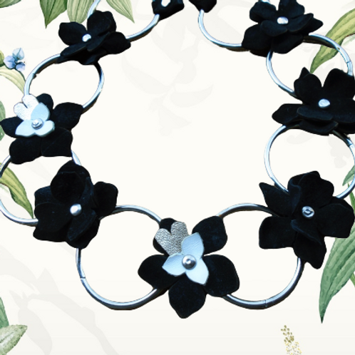 Black Jasmine Leather Necklace