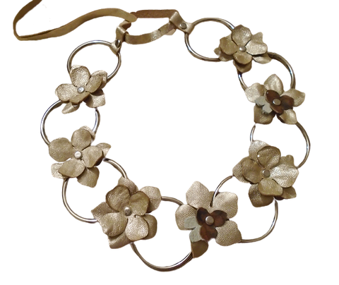 Golden Jasmine Leather Necklace