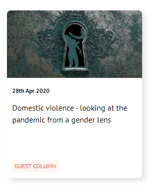 Domestic violence - looking at the pandemic from a gender lens  Read more at: https://yourstory.com/