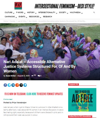 Nari Adalat – Accessible Alternative Justice Systems Structured For, Of And By Women