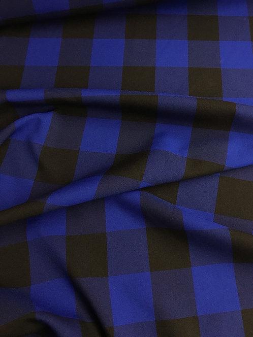 Royal Blue Checker - Poly Poplin