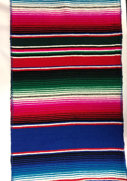 Sarape Runner - Royal Blue and Fuchsia