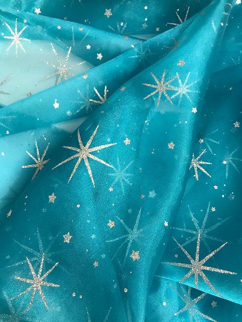 Organza con Estrellas Silver de Glitter - Teal Blue
