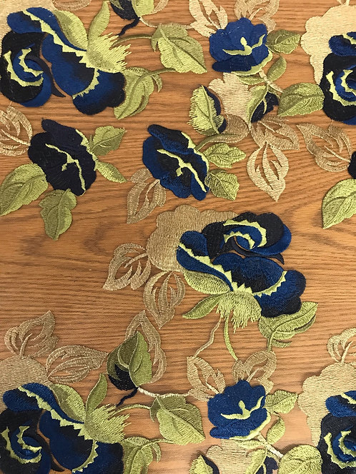 Blue - Embroidered Rose Lace