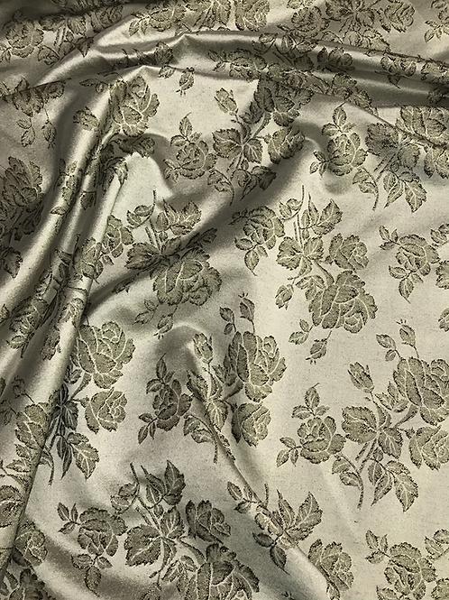 Gray Metallic Rose - Brocade