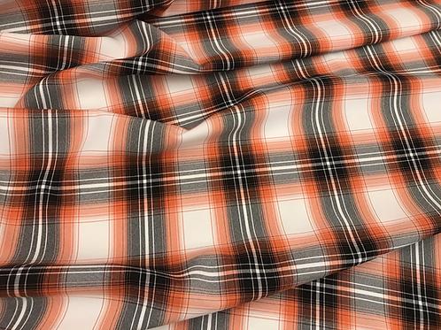 Orange Plaid - Poly Poplin