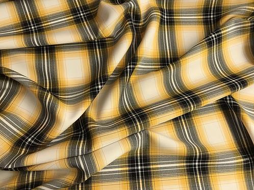 Yellow Plaid - Poly Poplin