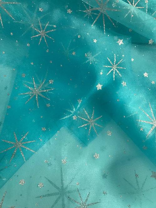 Silver Glitter Star Organza - Light Turquoise