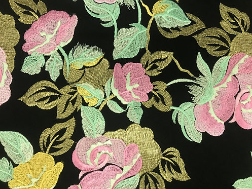 Pink - Embroidered Rose Lace