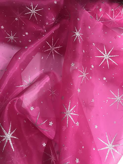 Silver Glitter Star Organza - Fuchsia